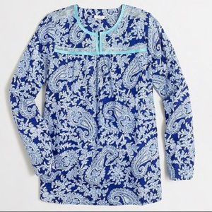 J. Crew Blue Paisley Printed Peasant Top Sz Small